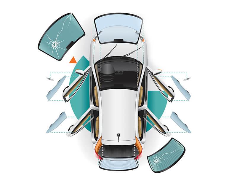 Glasscheiben eines Fahrzeuges hervorgehoben dargestellt.